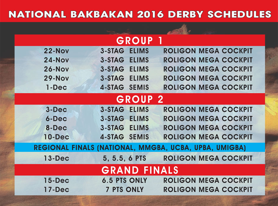 BAKBAKAN 2016 National Schedule